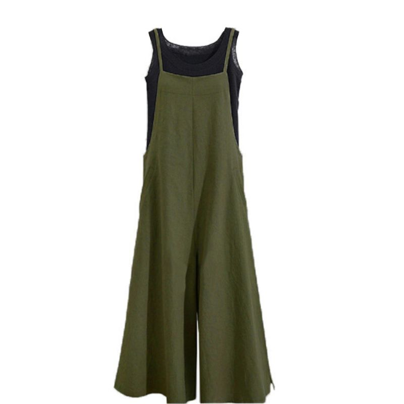Women Loose Cotton Linen Suspender Overalls Jumpsuit Bib Trousers   Wide     Leg     Pants   3Colors