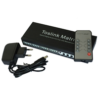New 4 In 4 Out SPDIF TOSLINK Digital Optical Audio 4x4 True Matrix Switcher Selector