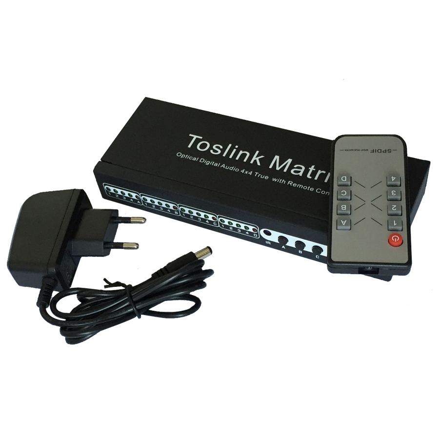 SPDIF / TOSLINK Audio Matrix 4 In 4 Out SPDIF / TOSLINK Digital Optical Audio 4x4 True Matrix Switcher Selector Remote Control vs0202 2x2 matrix video switcher function audio
