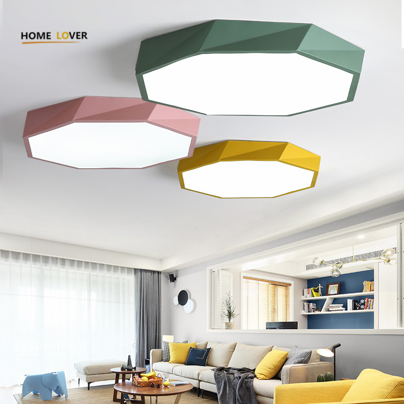 Flush mount ceiling lights for living room bedroom kitchen luminaire led Colorful Kids room ceiling light with remote controller