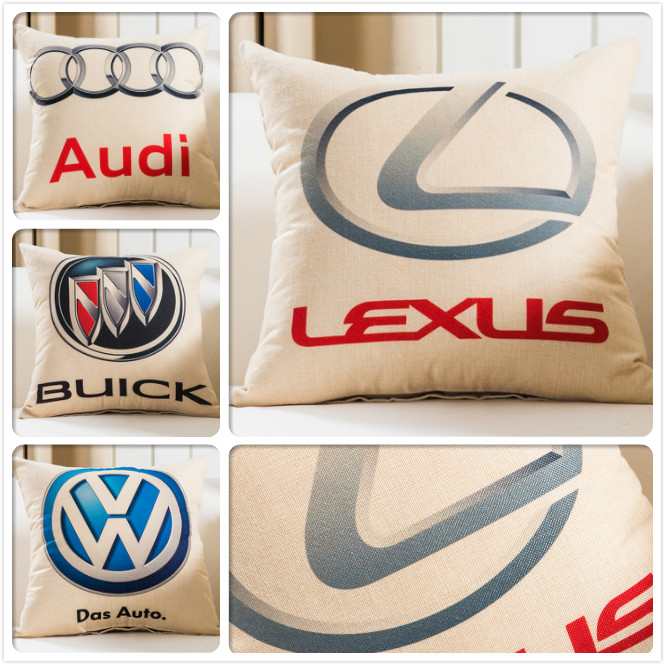 For FAW Ford BMW Audi Auto Logos Car Sign Print Cushion Cover Sofa Seat Back Pillow Case Decorative Cusion Square 45*45cm 18inch
