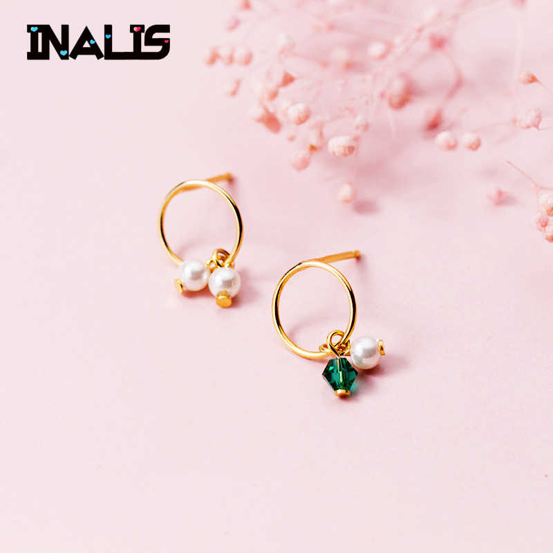 INALIS New Fashion Ear Hoop S925 Sterling Silver Earrings with Green CZ Stone Sea Shell Pearl Brincos for Women Fine Jewelry