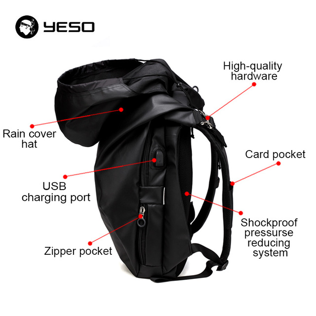 YESO USB Charging Port Waterproof Laptop Backpack with Rain Hat Durable Oxford for Business Men Travel Backpack Women School Bag