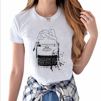 Art Hand Painted All Gone Printed White T shirt Hillbilly New Listing Women Street Casual Style O-Neck T-shirt Soft Good Fabric