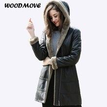 Women's Genuine Leather Sheepskin Jacket Winter Real Genuine Leather Hooded Zipper Jacket Women Real Leather Shearling Coat 4XL