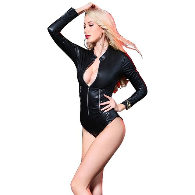 Wet-look Catsuit Gothic Bodysuit 8