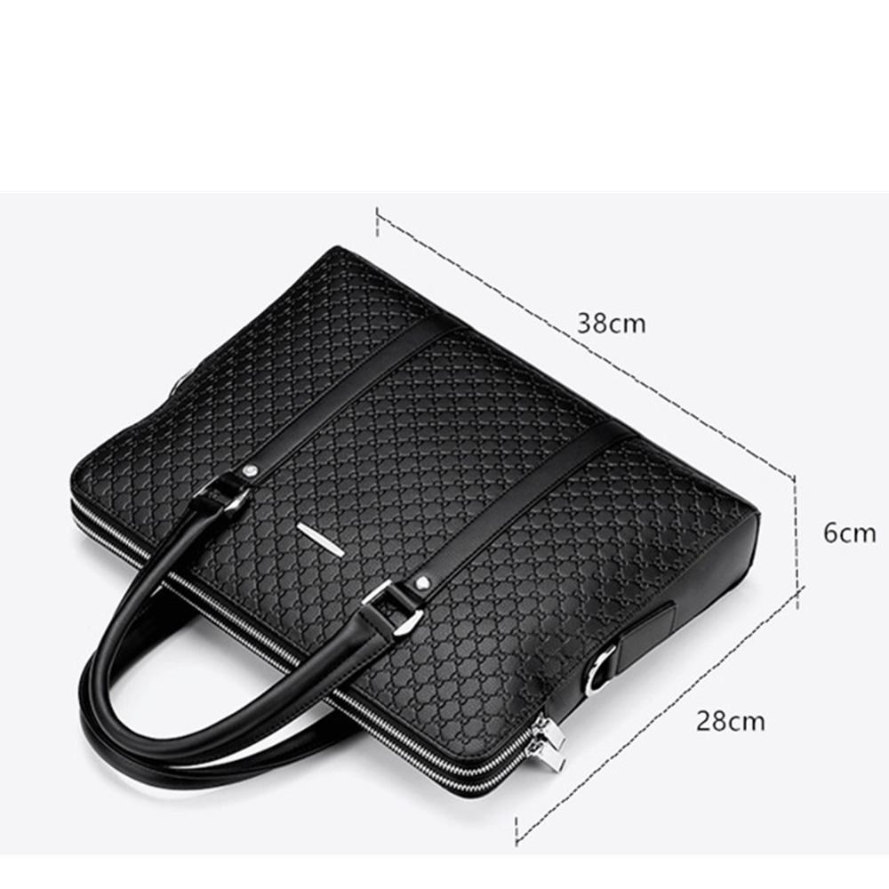 Image 5 - New Double Layers Men's Leather Business Briefcase Casual Man Shoulder Bag Messenger Bag Male Laptops Handbags Men Travel Bags-in Briefcases from Luggage & Bags