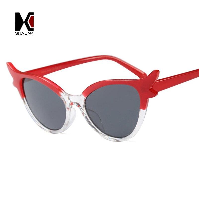SHAUNA Moda Mulheres Pequeno Gato Olho Óculos De Sol Duplo Cores Quadro  Bonito Senhoras Óculos UV400 em Óculos de sol de Acessórios de vestuário no  ... a4e78800fe