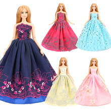 2019 New Doll Princess Evening Party Clothes Wear Long Dress Outfit Set For Barbie Accessories Our Generation