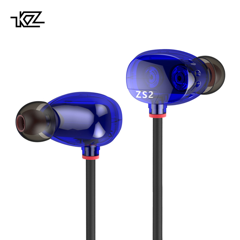 KZ ZS2 Dual Dynamic Driver Headphones Noise Cancelling Stereo In-Ear Hook Monitors HiFi Earphone With Microphone for Phone new kz zs3 in ear headphones stereo headset ear hook running sport earphone noise cancelling earbuds headphones with microphone