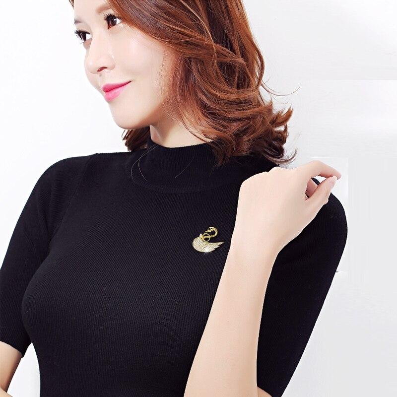 2017新しいfshionトレンディ高級高品質ラインストーンクリスタルジルコン白鳥ブローチピンジュエリー用女性女の子ウエディングドレス