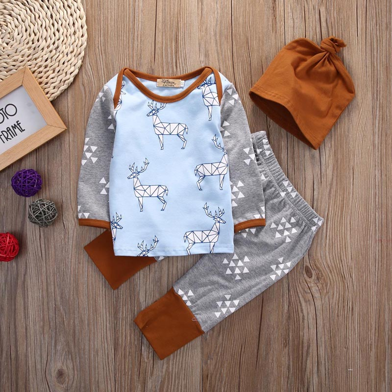 Newborn Baby Girls Boys 3PCS Outfits T-shirt+Pants Hat Deer Pajamas Clothes Set 3pcs baby boy clothing set newborn baby girls clothes i ll eat you up i love you so rompers pants hat toddle outfits