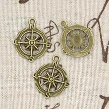 15 sztuk Charms kompas 28x24mm Handmade Craft wisiorek Making fit Vintage tybetański brąz srebrny kolor DIY dla bransoletka naszyjnik tanie tanio eunwol CN (pochodzenie) like photo Metal Other Ze stopu cynku Moda TRENDY