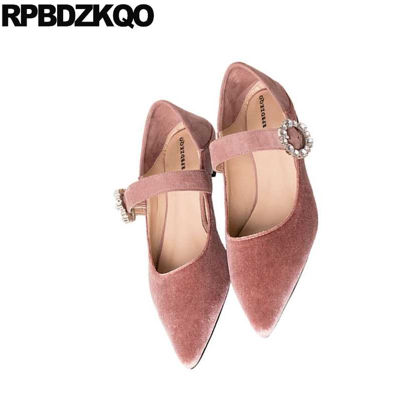 dab3a2979 ... Chinese Mules Pink Pointed Toe Dress Mary Jane Crystal Flats Navy Blue  Wedding Ballet Shoes Velvet ...