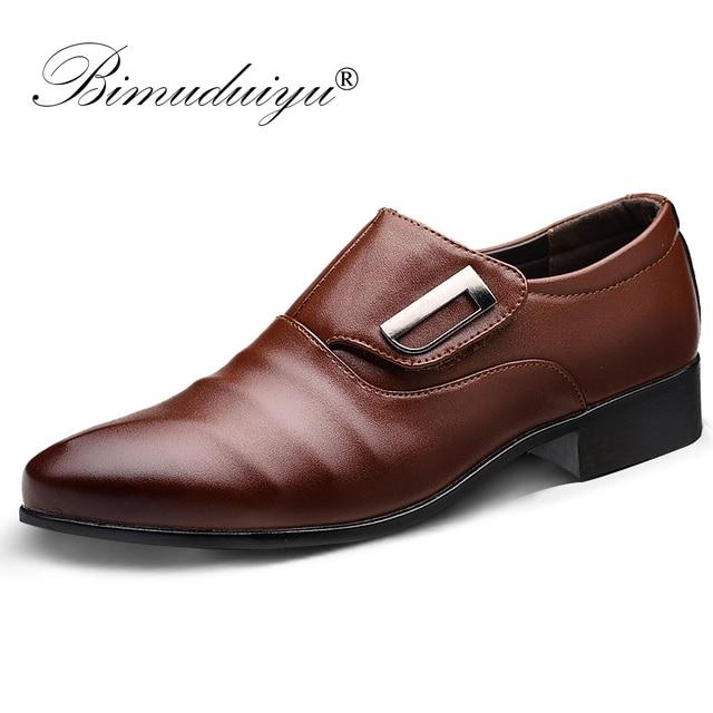 BIMUDUIYU Nieuwe Mode Bruiloft Schoenen Mannen Puntschoen Oxfords Man Jurk Lederen Schoenen Ademend Formele Kantoor Schoenen Big size 48
