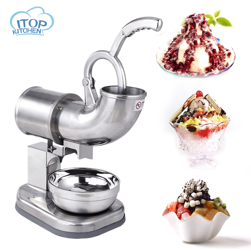 Commercial Ice Crusher Smoothie Machine Stainless Steel Ice Flake Machine 220V Continuous Ice Machine Fruit Ice Crusher