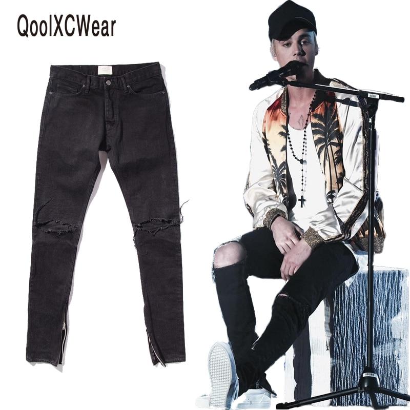 все цены на  QoolXCWear NEW  hip hop icon fear of god fog men zippers skinny slim pants jeans in black size 29-36  онлайн