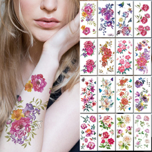 Pink Rose Peony Flowers Body Art  Chest Water Transfer Waterproof Temporary tattoo Girl Waist Bracelet Flash Tatoo