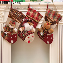 FUNNYBUNNY Toys Stockings Plush 3D Applique Style Felt Christmas Decorations and Party Accessory