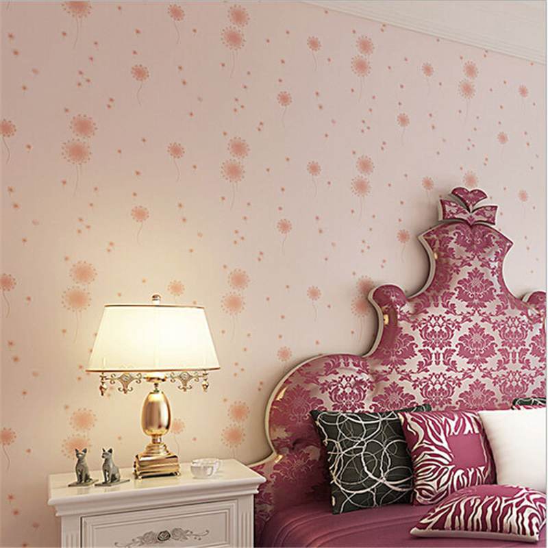 beibehang Hot Sale Romantic Dandelion Wedding Home 3D Wallpaper Purple Pink Yellow Non-woven Flowers Wallpapers Mural Wall P beibehang papel parede 3d romantic dandelion wedding decorative wallpaper non woven floral 3d wallpapers mural wall paper roll