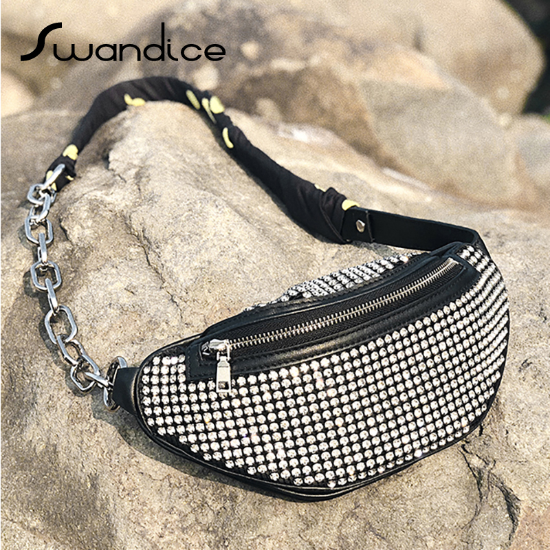 Real Genuine Natural Cow Leather Rhinestone Crystal Crossbody Shoulder Bags Fanny Pack Chest Waist Bum Belt