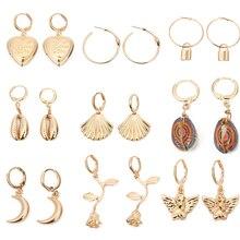Louleur Korean Sweet Big Hoop Earrings Gold Angel Key Bohemian Heart Flower Sea Shell Long Boho Jewelry 2019 Summer Hot