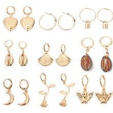 Louleur-boucles d'oreilles en forme de grand cerceau, style coréen, bijoux Boho, clé ange, bohème, fleur, cœur, coquillage, longs, bijoux Boho, tendance, été 2019
