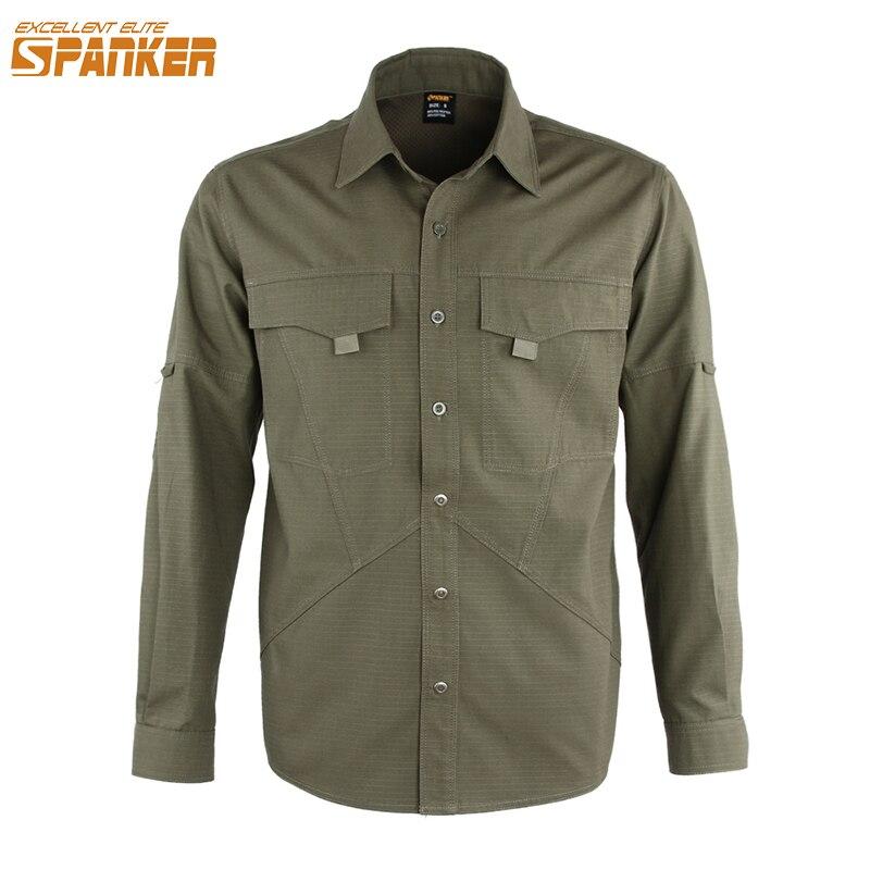 Doskonała ELITE SPANKER Outdoor Tactics sportowa męska koszula z długimi rękawami mężczyźni polowanie kamuflaż cienki płaszcz wojskowe koszule bojowe