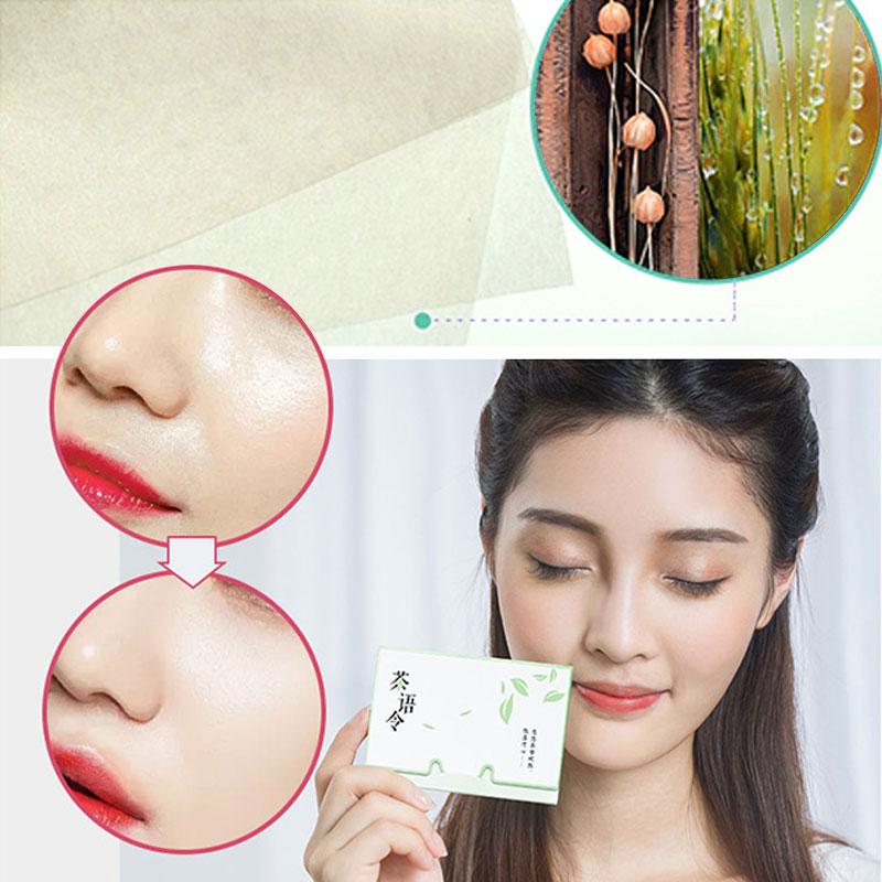 100 folhas/pacote de papéis de tecido chá verde cheiro de maquiagem de limpeza de óleo absorvente de papel facial absorver blotting cleanser rosto ferramenta