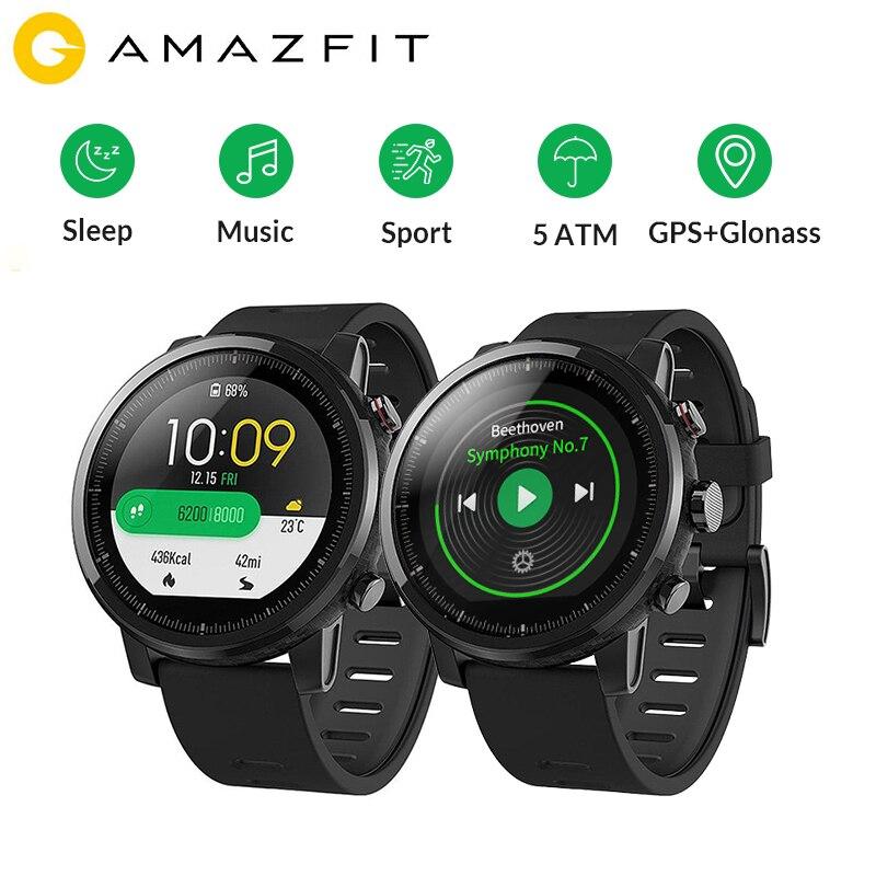 Huami Amazônia Stratos 2 Esportes Relógio Inteligente GPS 5ATM Água 1.34 ''Tela GPS Firstbeat 2.5D Natação Smartwatch Versão Global