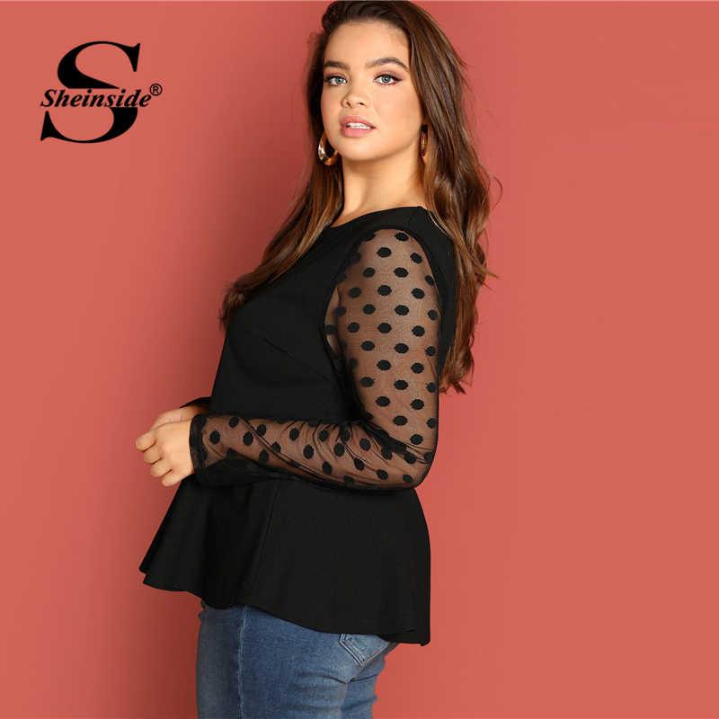 b3729ef986e ... Sheinside Black Plus Size Elegant Long Sleeve T Shirt Women Dot Mesh  Sleeve Peplum Top 2018 ...