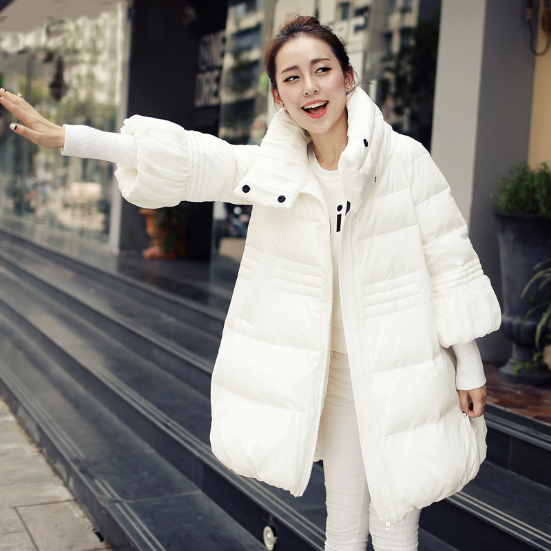 <font><b>2016</b></font> European Padded Down Cotton Female Jacket Coat Plus Size Long Slim Warm Hooded Cloak Parka Jacket Women's Winter WUJ0404 image