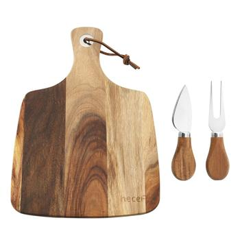 Hecef Cheese Board 3PCS Set, Acacia Wood Cheese Plate & Cheese Knife & Cheese Fork