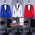 Nuevo 2017 ropa de Hombre vestido formal rojo blanco azul marino chaqueta traje cantante de baile de disfraces