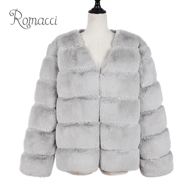190e2129db7 Vintage fluffy faux fur coat women Short furry fake fur winter outerwear  pink coat 2018 autumn casual overcoat abrigo mujer