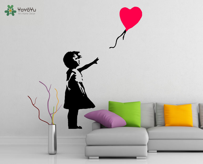YOYOYU Wall Decal Vinyl Art Decoration Banksy Girl with Heart Balloon Street Graffiti Removeable Poster Mural YO398