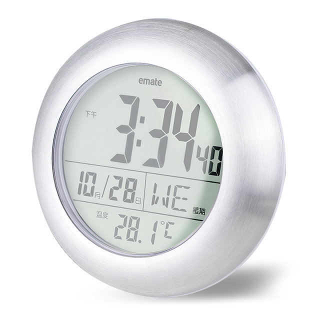 Emate Wall Clock Thermometer Hygrometer Circular Waterproof Clock Digital LCD Modern Clock with Suction relogio de parede