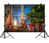 5x7ft Christmas Tree Cute Bear Wood Floor Window Decoration Polyester Photo Background Portrait Backdrop