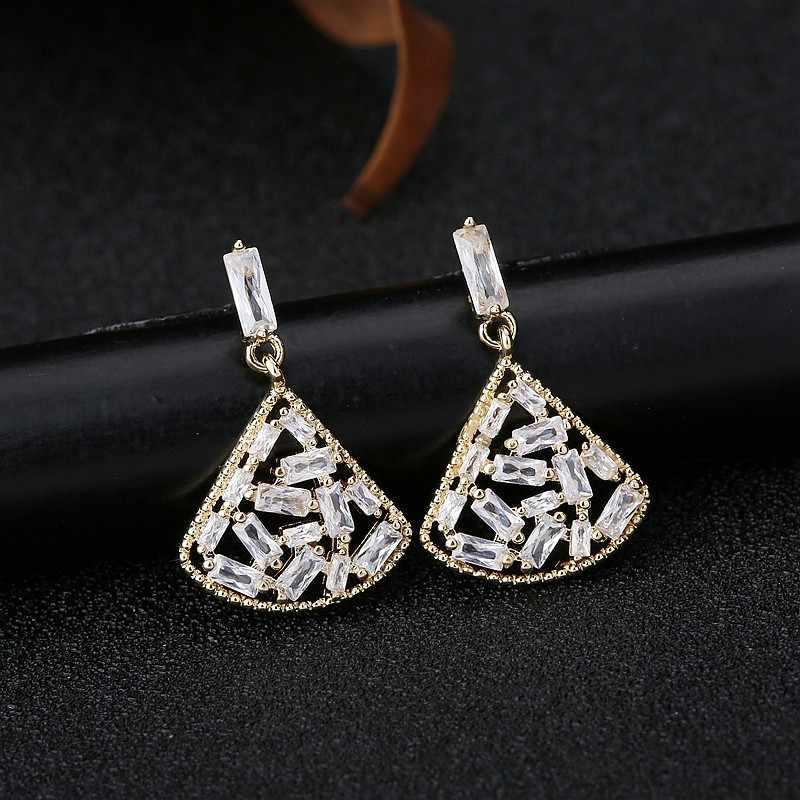 MIGGA brillant cubique Zircon pavé creux en forme d'éventail pendaison boucles d'oreilles couleur or femmes bijoux
