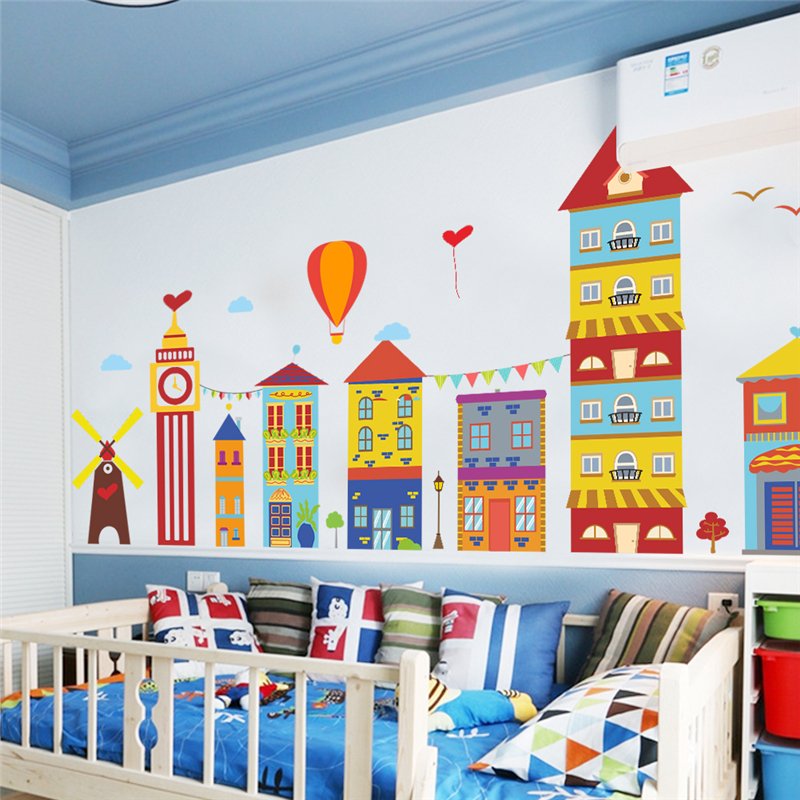 Colorful Building Windmill Hot Air Balloon Wall Stickers For Kids