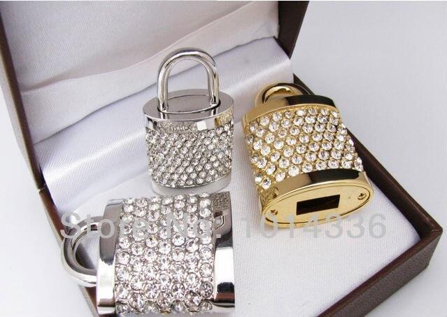 real capacity golden jewellery crystal element lock model USB 2.0 1GB 4GB 8GB 16GB 32GB Memory Stick Flash Drive S55 DD
