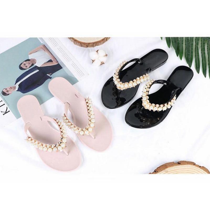 Bailehou mujer Zapatillas verano playa zapatillas Flip Flops sandalias mujeres perla moda señoras zapatos de los planos envío gratis
