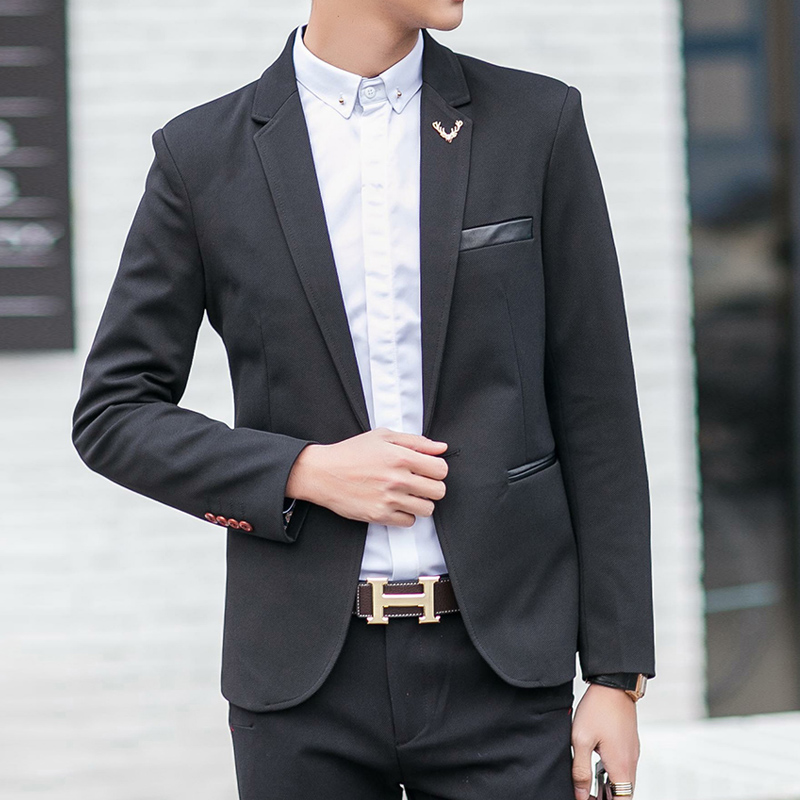 2016 Men Leather decorative Suit Jackets Blazers Dress Suits Men's Casual Fashion Single Button Style Large Size Men Jackets