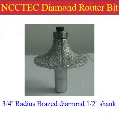3/4'' R18 Radius diamond vacuum Brazing brazed router bit with 1/2 Shank FREE shipping | marble, granite slabs edge tools no 13 vacuum brazed diamond router bits with 1 2 shank for stone router cutter for granite