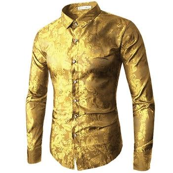 Chất lượng cao 2019 Nam Dài Tay Áo Sơ Mi Màu Đỏ Vàng Tím người đàn ông Màu Xanh của thêu áo sơ mi Thời Trang Slim Đám Cưới Bên kinh doanh