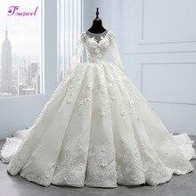 Fsuzwel Appliques Flowers Chapel Train Ball Gown Wedding Dresses 2020 New Arrival Scoop Neck Lace Up Bride Gown Vestido de Noiva