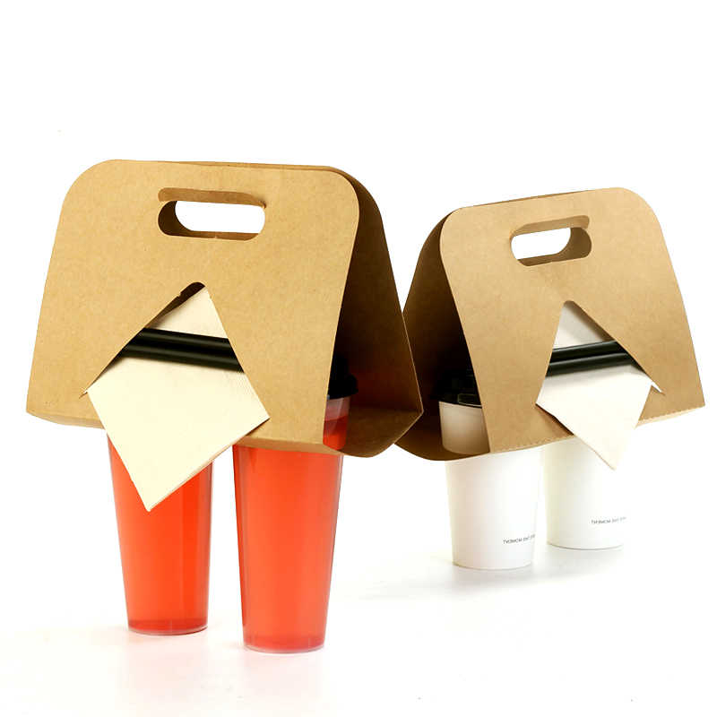 Disposable Takeout Hot Drinks Packaging Tray Multifunction Kraft Paper Cup Holder Coffee Tea Sleeve Milk Mug Base Handle Holder