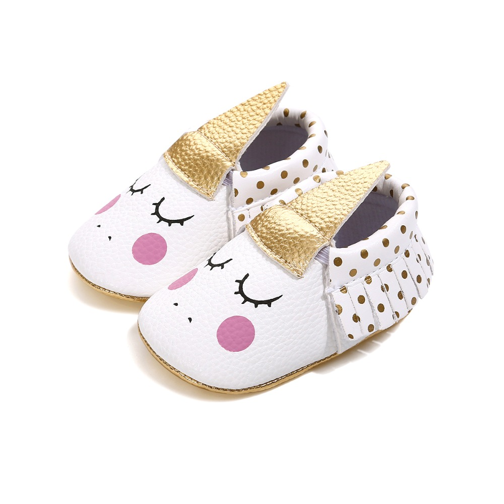 2019 Handmade Pu Leather Custom Party Baby Girl Shoes Blush Angle Unicorn Baby Soft Sole First Walker Crib Toddler Moccasins