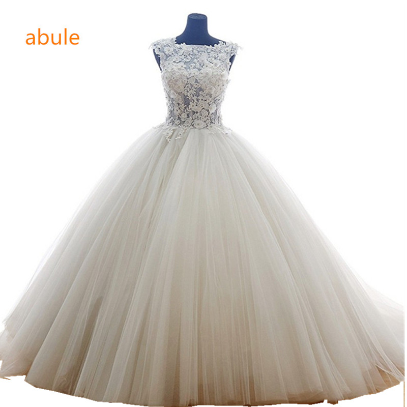 abule Illusion Wedding Dress musim panas Bergaya White Princess lace lace Wedding gaun Sexy lace up crystal Vestido De Noiva
