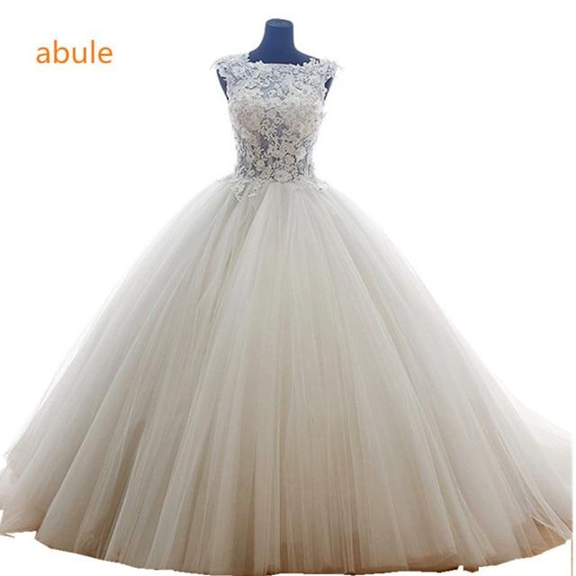 abule Illusion Wedding Dress summer Fashionable White Princess sheer ...